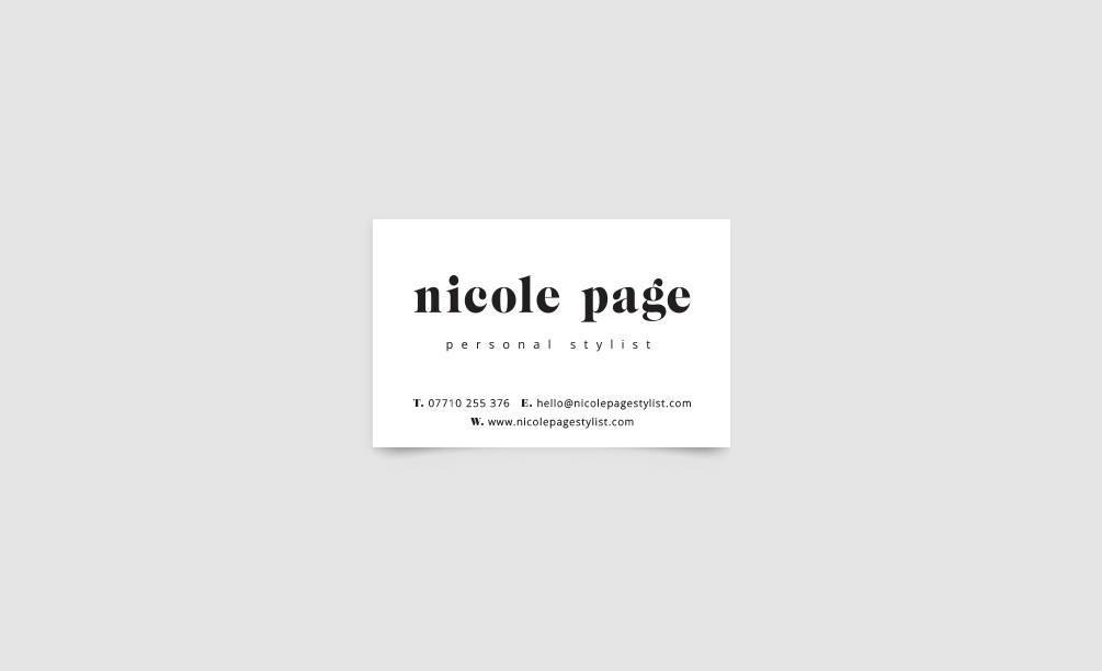 Nicole Page Stylist Business Card